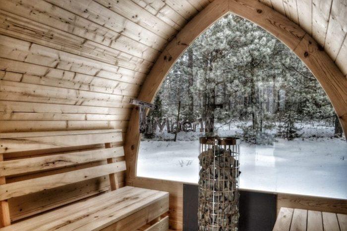 Fasssauna Aussensauna Mit Vollem Panoramafenster Und Elektroofen Cilindro Winter