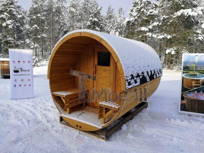 Fasssauna Aussensauna Winter Mit Veranda Und Elektroofen Harvia