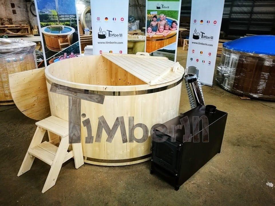 Badezuber aus Fichte Holz mit Aussenofen